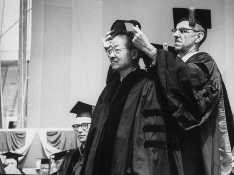 Y. R. Chao receiving a Berkeley honorary degree, 1963