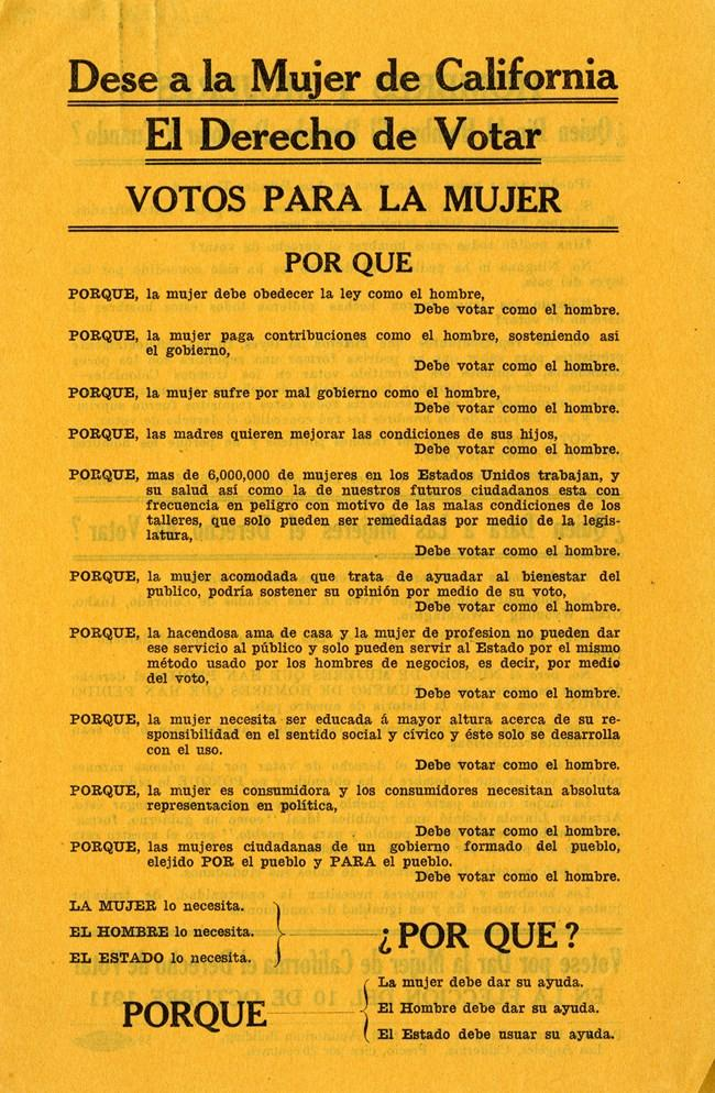 Pamphlet of the Los Angeles Political Equality League distributed by suffragist Maria de Lopez