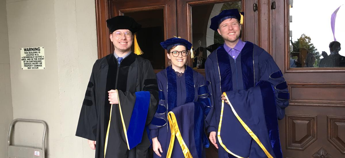 PhD recipients Nicholas Rolle, Emily Clem, and Kenneth Baclawski, Jr.