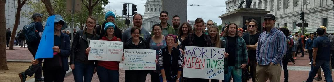 Berkeley linguists at the March for Science, San Francisco, 2017