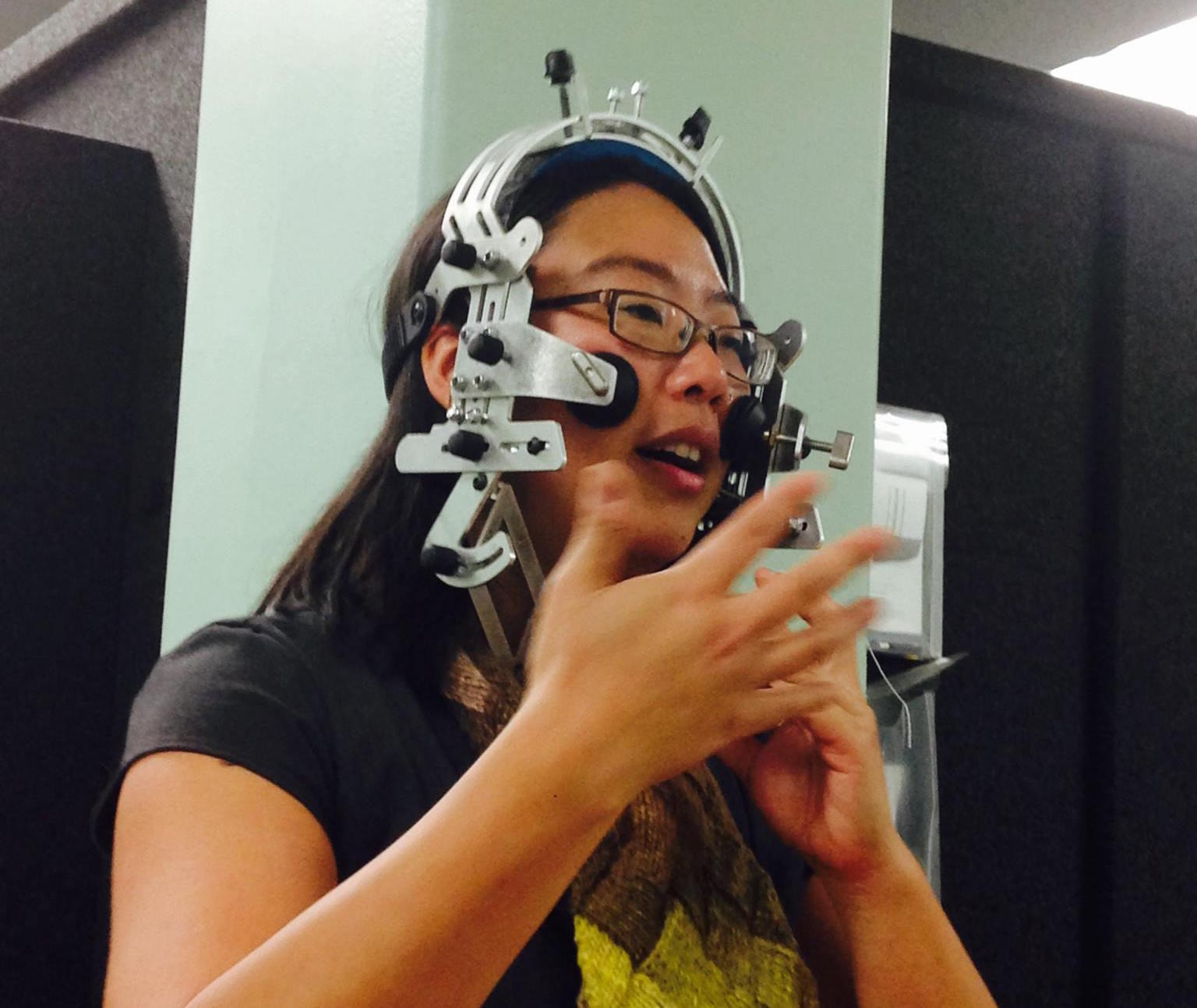 Prof. Susan Lin with ultrasound helmet, 2015