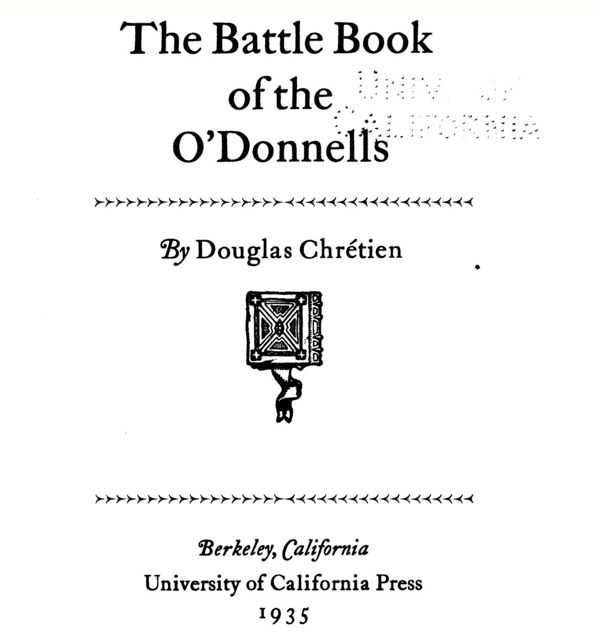 """The Battle Book of the O'Donnells"" by C. Douglas Chrétien"