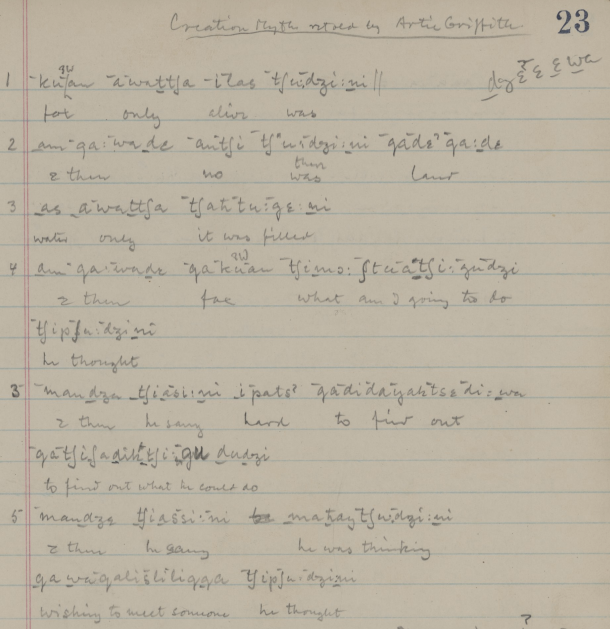Achumawi transcription, 1931
