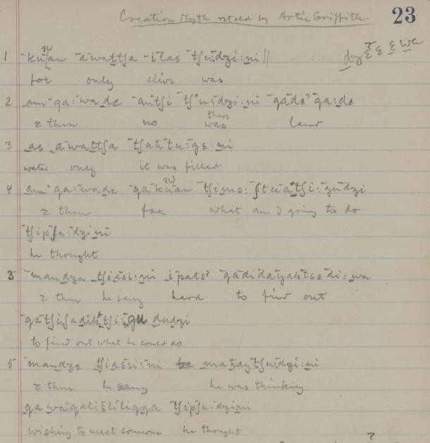 Achumawi transcription, 1931