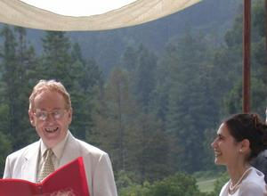 Chuck Fillmore officiating at Tess Wood wedding